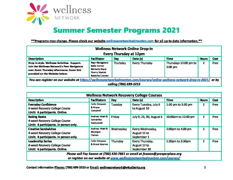Wellness Network Summer Flyer 2021